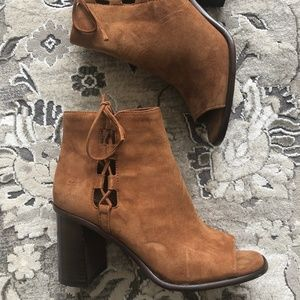 Frye Nutmeg Brown Suede Open Toe Ankle Boots